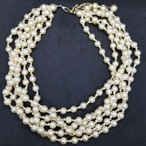 Vintage multi-strand pearl & gold bead necklace